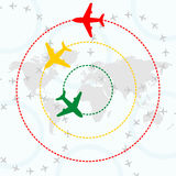 Airplanes over world map. Contours of airplanes with lines vector illustration