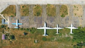 Airplanes are in the parking outdoors. Museum exhibits aircraft. Aerial footage. 4k stock video