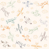 Airplanes pattern color Royalty Free Stock Photo