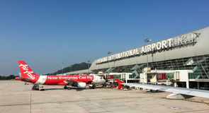 Airplanes at the Penang airport in Malaysia Stock Photo