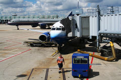 Airplanes prepare to takeoff from O'Hare International Airport Stock Photos