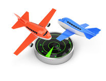 Airplanes and radar. On white background. 3d render vector illustration