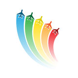 Airplanes with rainbow royalty free illustration