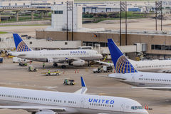 Airplanes on the ramp at Houston International Airport Royalty Free Stock Image