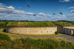 Airplanes reconstruction fights at days World War II. Stock Photography