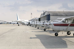 Airplanes in a Row Stock Images