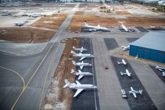 Airplanes on the runway. Aerial view royalty free stock images