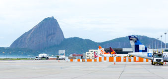 Airplanes in Santos Dumont Airport in Rio de Janeiro, Brazil Royalty Free Stock Image