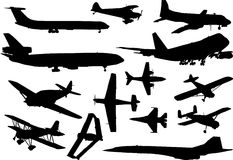 Airplanes silhouettes collection. Illustration with airplanes silhouettes collection isolated on white background stock illustration