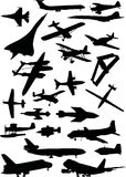 Airplanes silhouettes set Royalty Free Stock Image