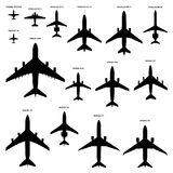 Airplanes silhouettes Stock Images