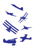 Airplanes silhouettes vector set. Stock Image
