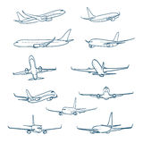 Airplanes sketches Royalty Free Stock Image