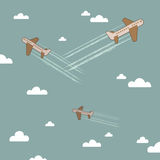 Airplanes in the sky Royalty Free Stock Photos