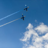 Airplanes in the sky with colorful smoke of Royalty Free Stock Photos