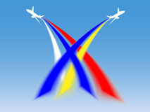 Airplanes. In sky of colors of russian and ukrainian Royalty Free Stock Photo