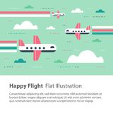 Airplanes in the sky, happy flight, flat illustration, flying aircraft with rainbow. Happy flight, airplanes in the sky, children flat illustration, flying stock illustration