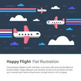Airplanes in the sky, happy flight, flat illustration, flying aircraft with rainbow. Happy flight, airplanes in the sky, children flat illustration, flying royalty free illustration
