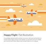 Airplanes in the sky, happy flight, flat illustration, flying aircraft with rainbow stock illustration
