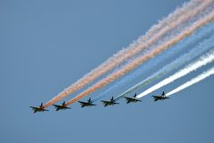 Airplanes in the sky. They paint Russian state flag tricolor in the sky. Military parade general rehearsal in Moscow. Date: May 07, 2017. Color photo royalty free stock photography
