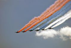 Airplanes in the sky. They paint Russian state flag tricolor in the sky. Military parade general rehearsal in Moscow. Date: May 07, 2017. Color photo stock images