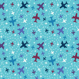 Airplanes in the sky seamless pattern background Royalty Free Stock Image