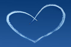 Airplanes Skywriting a Heart royalty free stock image