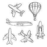 Airplanes, space shuttle, hot air balloon sketches. Air transport sketches with jet airplane, cargo planes, vintage hot air balloon and modern space shuttle Royalty Free Stock Image