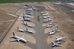 Airplanes in Storage. Jet airplanes parked in desert for future to be determined stock image