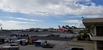 Airplanes at the terminal stock image