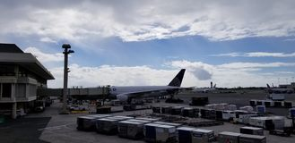 Airplanes at the terminal stock photos