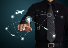 Airplanes on their destination routes. Stock Photo