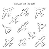 Airplanes thin line icons Stock Image