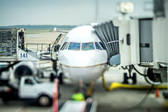 Airplanes and transportation scenes on the tarmac Stock Image