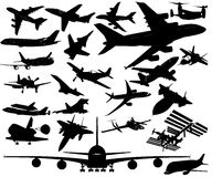 Airplanes in Vector Art. A380, A350, Dreamliner, Space Shuttle, ISS, F14, F16, F22, Corsair, Mustang, Su, Strike Fighter, concord and many more airplanes Royalty Free Stock Photo