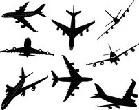 Airplanes 2 vector silhouette Stock Photography