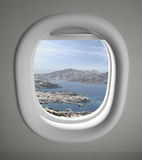 Airplanes window seat view Royalty Free Stock Images
