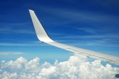 Airplane wing. Airplanes wing on the sky with blue sky and clouds Royalty Free Stock Images