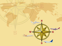 Airplanes and world map Royalty Free Stock Photos