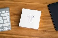 AirPods draadloze hoofdtelefoons Royalty-vrije Stock Foto