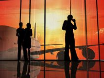 The airport. Silhouettes of the people at the airport Stock Photos