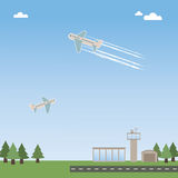 Airport. Landscape background with airport, runway and airplanes Royalty Free Stock Photography