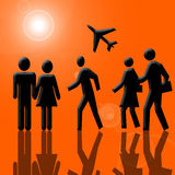In Airport. People silhouettes, airplane and sun over orange background Stock Photo