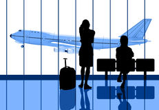 Airport. People Waiting for the flight royalty free illustration