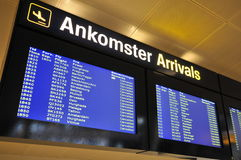 Airport. A sign at Kastrup Ariport in copenhagen shows that all flights are canceled Royalty Free Stock Photography