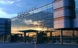 Airport. Koltsovo, terminal A in morning beams of the sun, Ekaterinburg Stock Photo