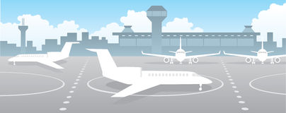 Airport. Building and landing field with planes Royalty Free Stock Images