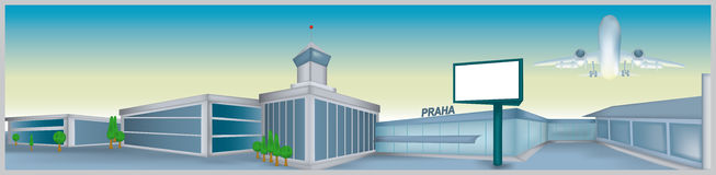Airport. Vector illustration of the airport in Prague Royalty Free Stock Photography