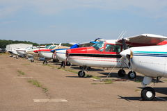 Airport. Small planes tied down at a small airport Stock Image