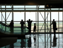 Airport. With people waiting, silhouette Royalty Free Stock Image